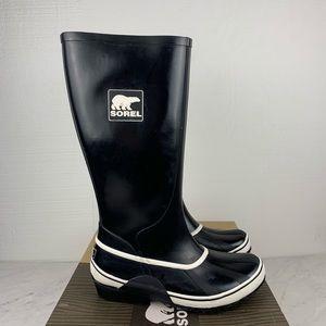 Sorel Black & White Sorellington Rain Boots